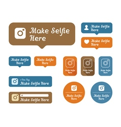 Make selfie here Icons and stickers set For cafes vector