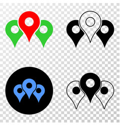 map markers eps icon with contour version vector image