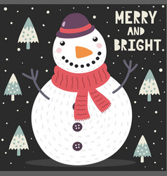 merry and bright christmas greeting card vector image