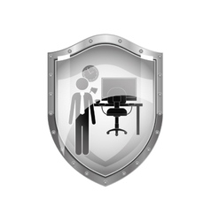 Metallic shield man administrator in office vector