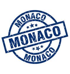 Monaco blue round grunge stamp vector