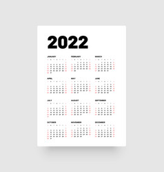 Monthly calendar for 2022 year week starts on vector