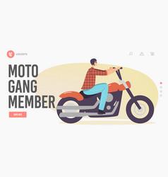 moto gang member landing page template street vector image
