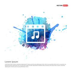 music symbol icon - watercolor background vector image