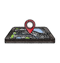 navigation gps device and city map with pins vector image