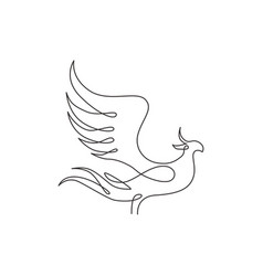 one continuous line drawing elegant phoenix vector image