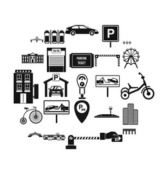 parking area icons set simple style vector image
