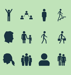 person icons set collection of beloveds family vector image