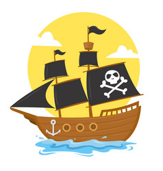 Pirate ship with black skull cross flag vector