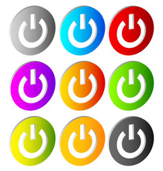 Power buttons icons with power symbol vector