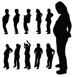 pregnancy woman silhouette vector image vector image