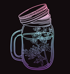 Print with a beautiful jar and a branch with vector