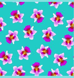 Purple vanda miss joaquim orchid on green teal vector