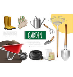 realistic garden elements collection vector image