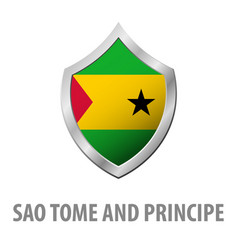 sao tome and principe flag on metal shiny shield vector image