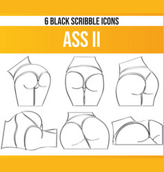 Scribble black icon set ass ii vector