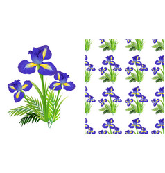 Seamless background design with iris flowers and vector