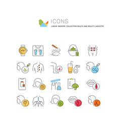 Set linear icons health and beauty industry vector
