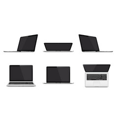 set modern laptop with blank screen isolated vector image