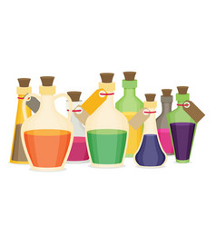 Set of cartoon bottles and potions flat vector