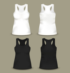 Set of isolated woman sleeveless top or t-shirts vector