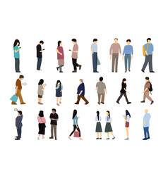 set of people in simple flat cartoon design vector image