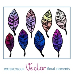 Set of watercolor stylized leaves vector