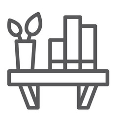 Shelf line icon furniture and home bookshelf vector