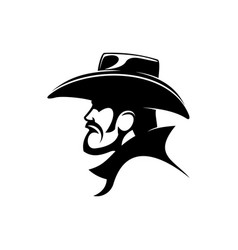 Sheriff or cowboy in leather hat isolated bandit vector