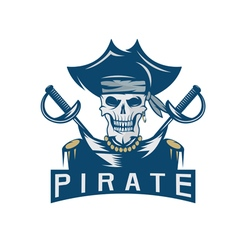 skull captain pirate in hat with swords design vector image