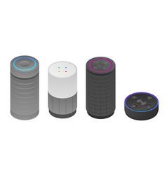 Smart speaker icons set isometric style vector