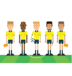 soccer referees on white background vector image vector image