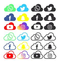 Social media bundle icon vector