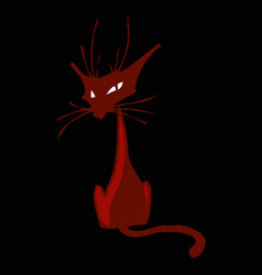 stylized image a ginger cat in a dark room vector image