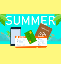 summer holiday horizontal banner with lettering vector image