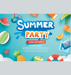 summer party with paper cut symbol and icon for vector image