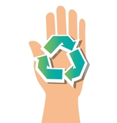 Symbol recycle and hand icon vector