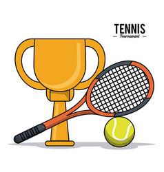 Tennis sport trophy ball racket image vector