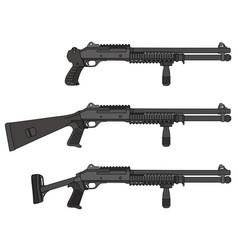 Three pump shotguns vector