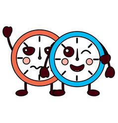 Two kawaii clock character cartoon style vector