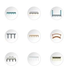 Types of bridges icons set flat style vector