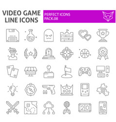 video game thin line icon set play symbols vector image