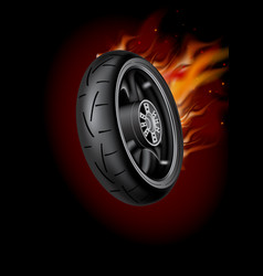 wheel in flame poster mock up template realistic vector image