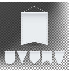 white pennant template set empty 3d vector image