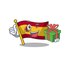 With gift flag spain isolated in cartoon vector