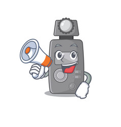 With megaphone light meter character shape vector