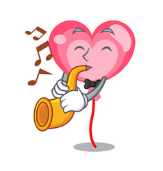 With trumpet ballon heart mascot cartoon vector