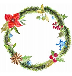 Green christmas wreath with decorations vector image