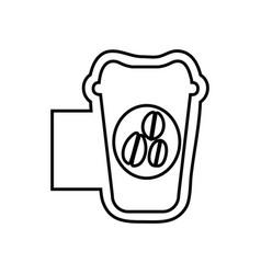 monochrome contour emblem with disposable coffee vector image