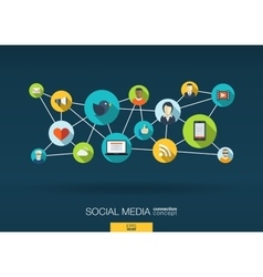 Social media network background with integrate vector
